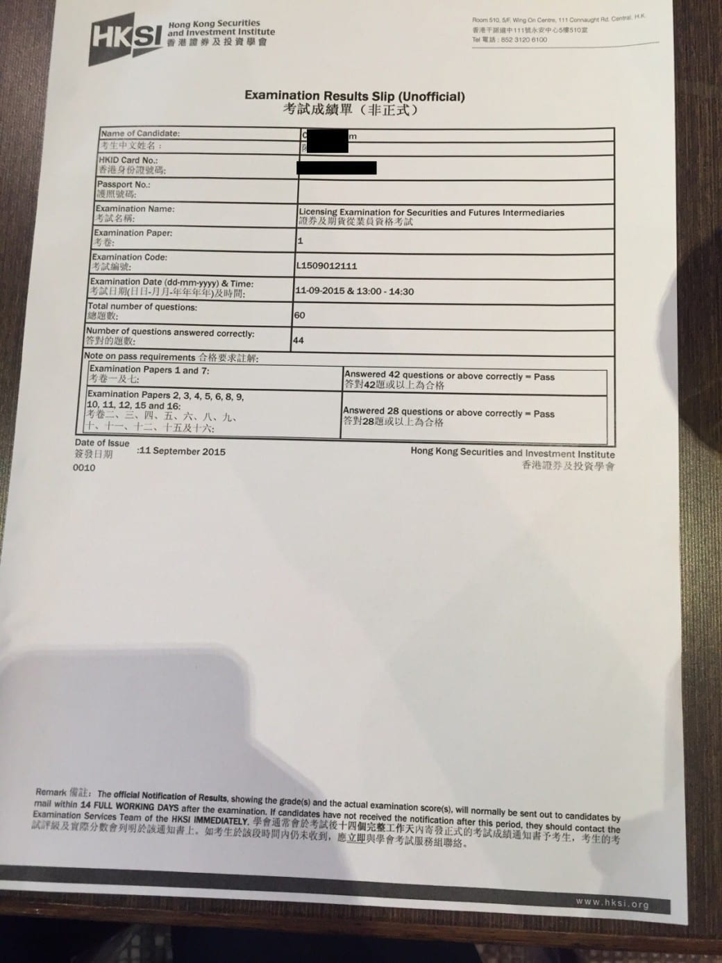 Himchan 11/9/2015 HKSI Paper 1 Pass