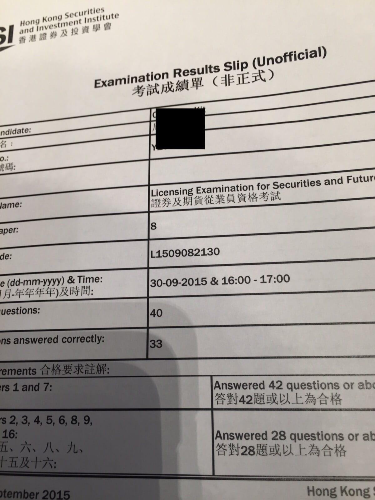 Codychow 30/9/2015 HKSI Paper 8 Pass