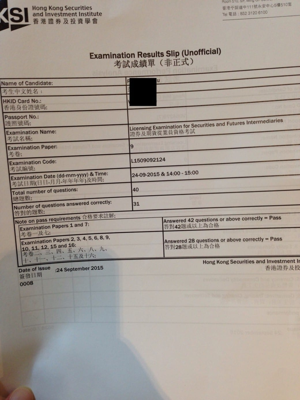 Mcpang 24/9/2015 HKSI Paper 9 Pass