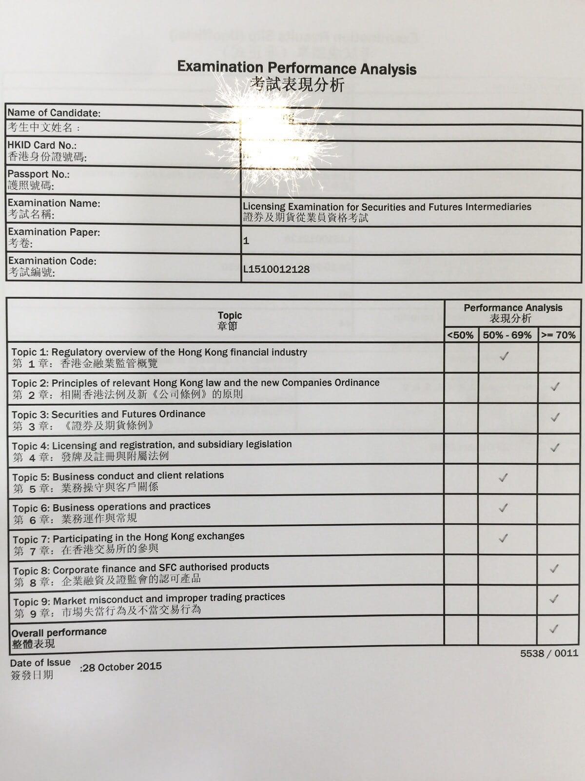 Simonje 28/10/2015 LE Paper 1 證券期貨從業員資格考試卷一 Pass