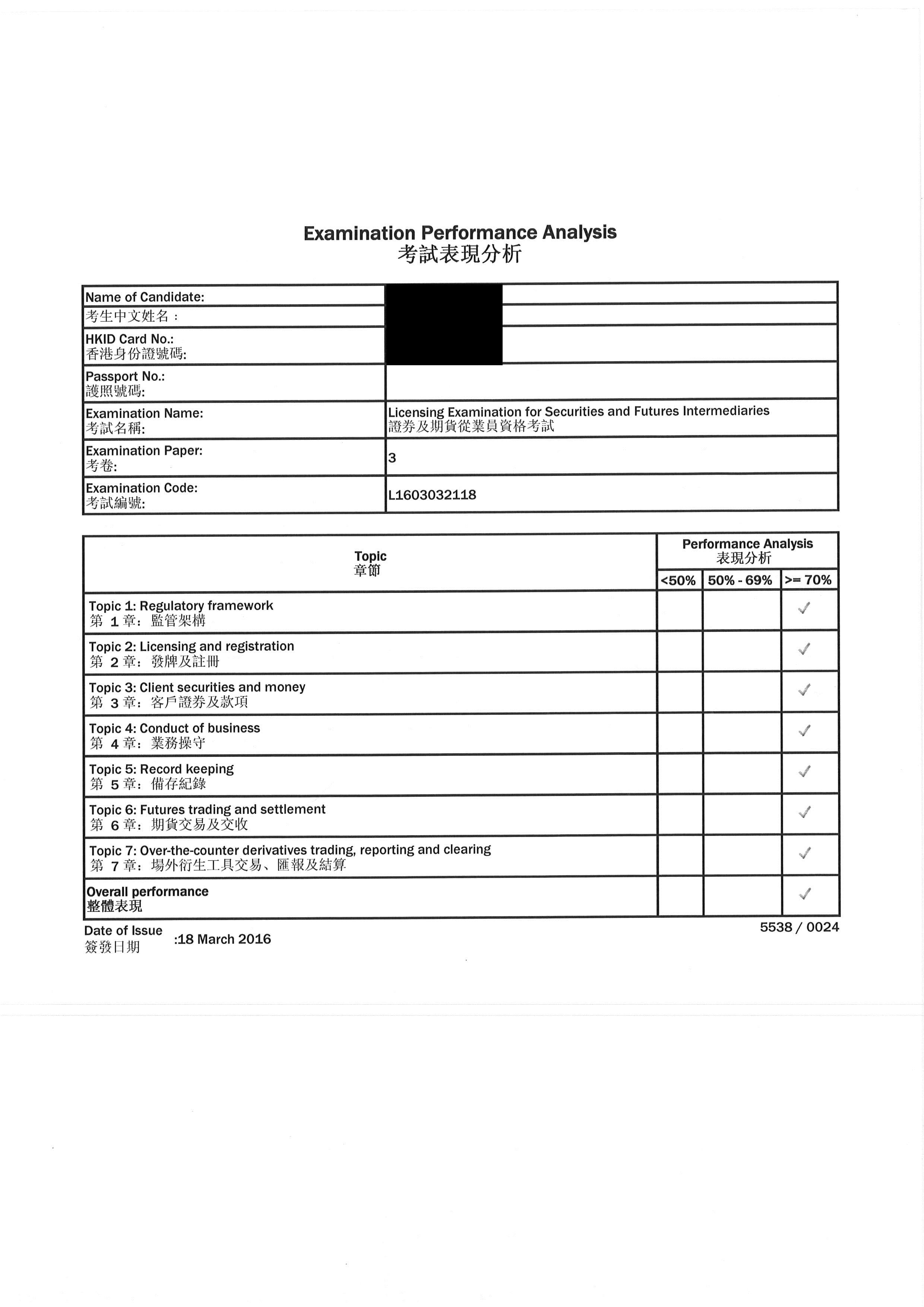 CK 18/3/2016 LE Paper 3 證券期貨從業員資格考試卷三 Pass