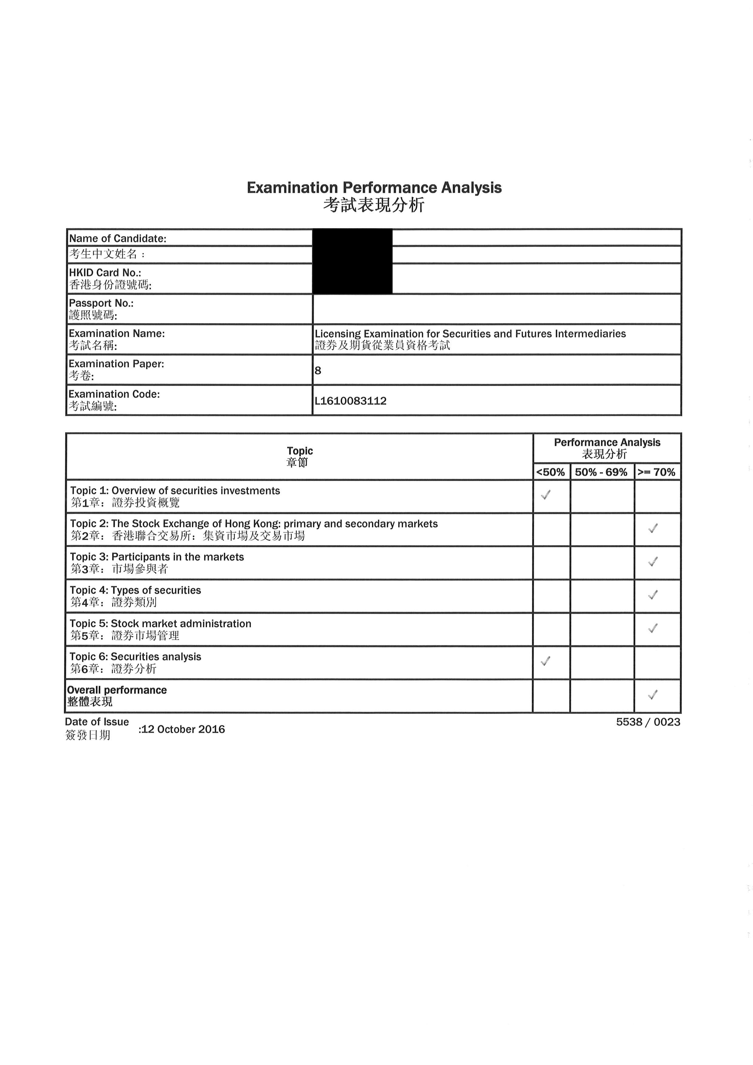 LCW 12/10/2016 LE Paper 8 證券期貨從業員資格考試卷八 Pass
