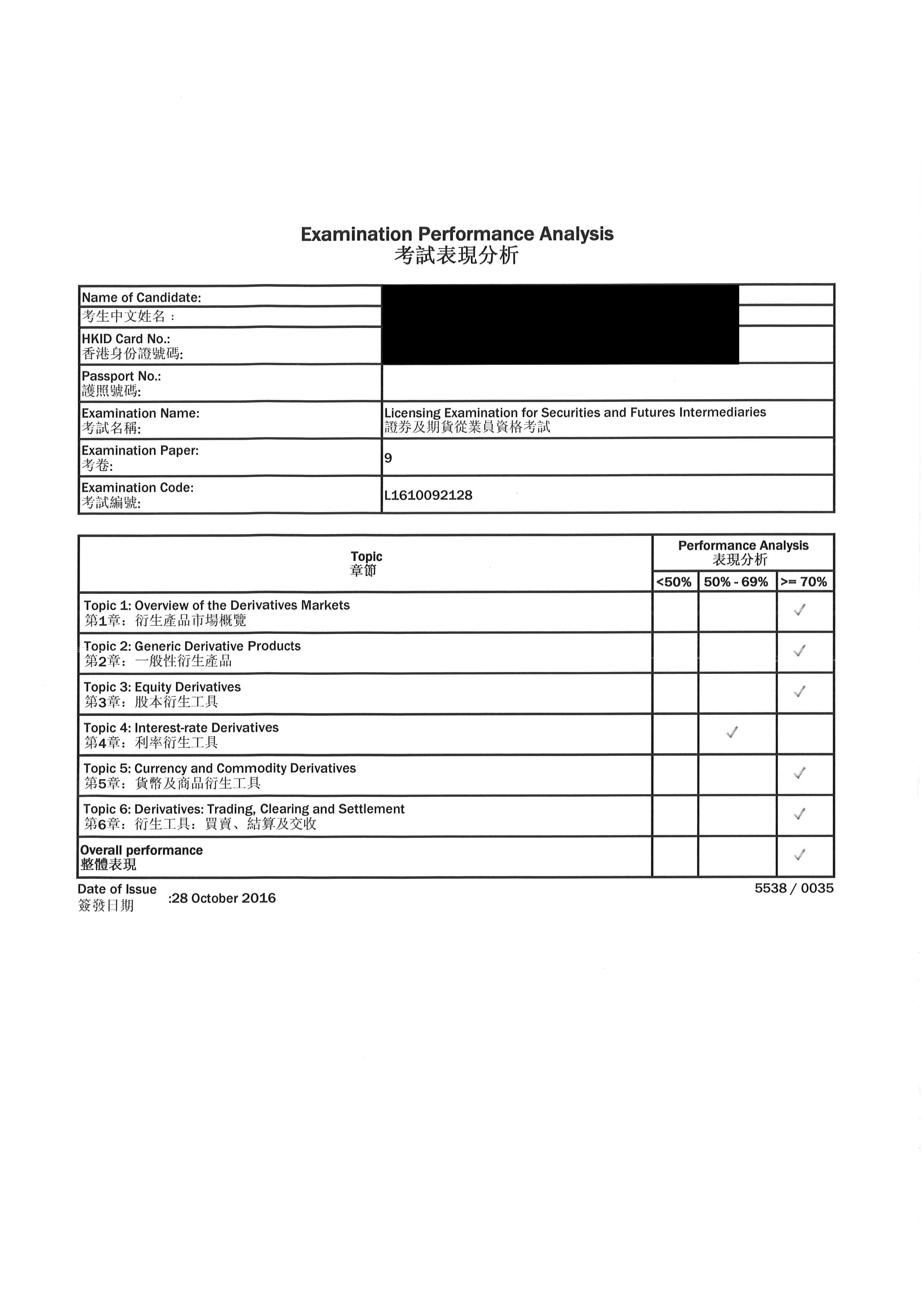 SJD 28/10/2016 LE Paper 9 證券期貨從業員資格考試卷九 Pass