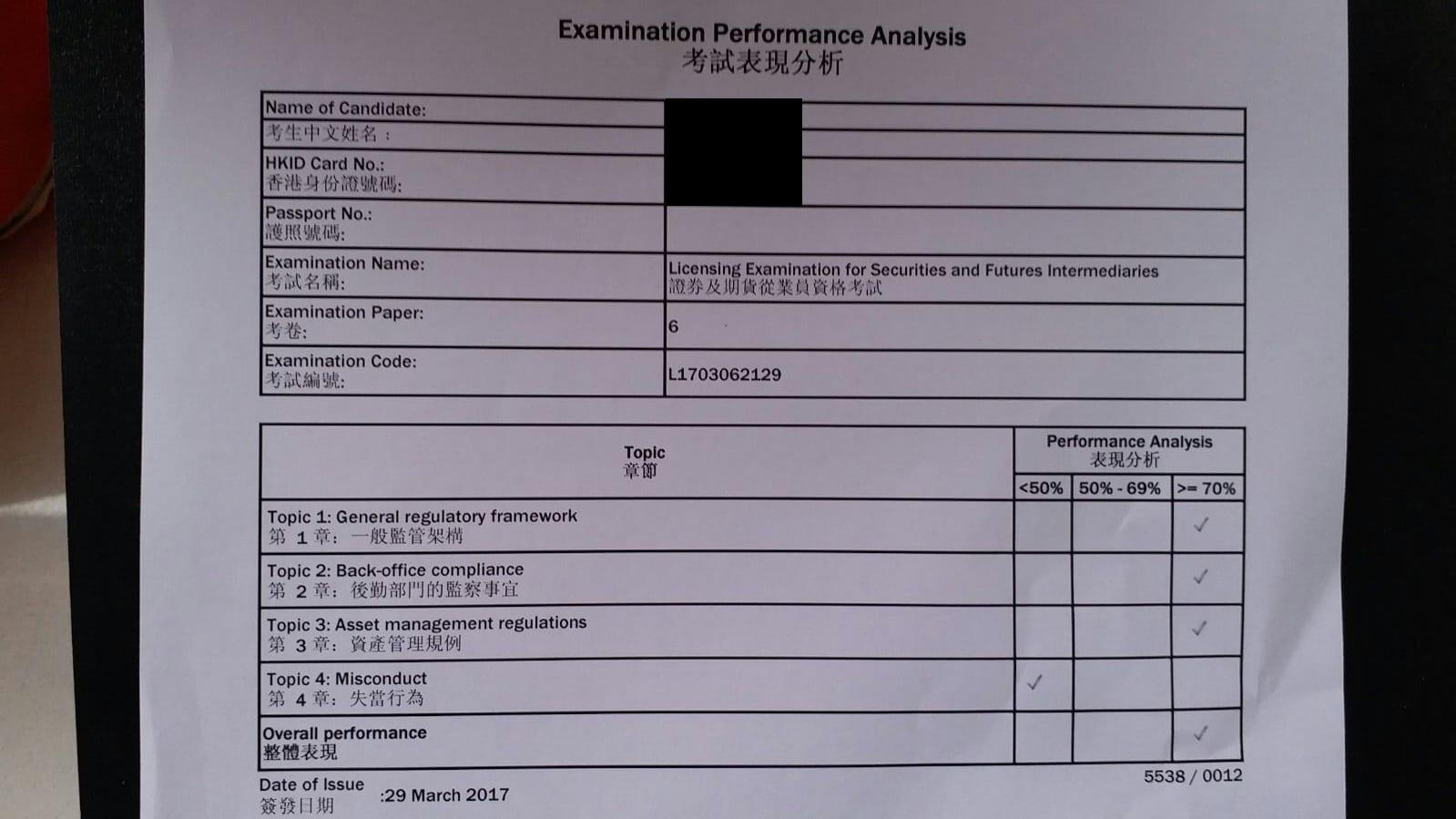 HPH 29/3/2017 LE Paper 6 證券期貨從業員資格考試卷六 Pass