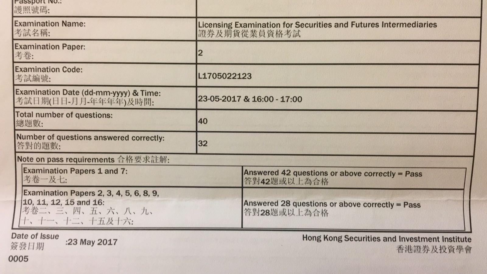 YKW 23/5/2017 LE Paper 2 證券期貨從業員資格考試卷二 Pass