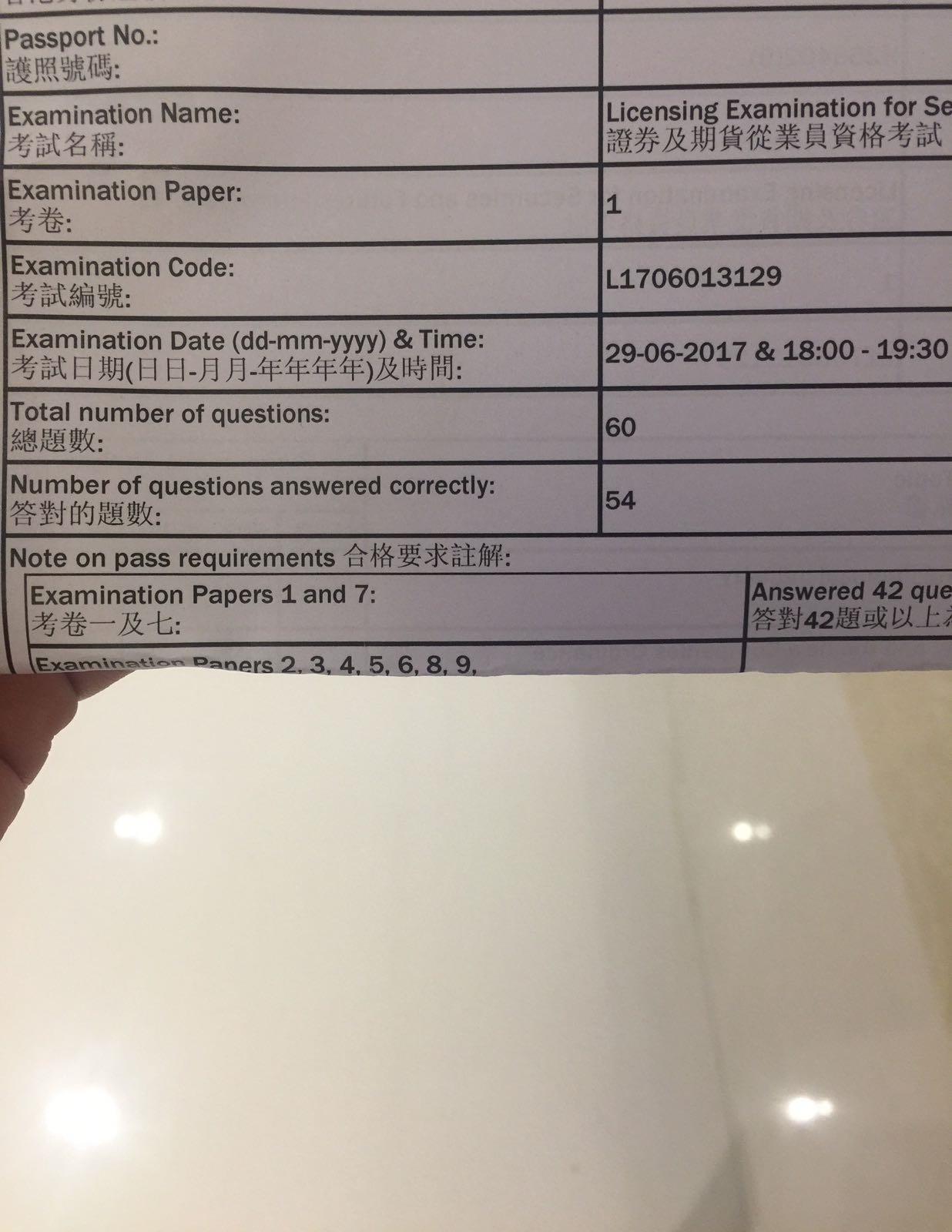 CFIW 29/6/2017 LE Paper 1 證券期貨從業員資格考試卷一 Pass