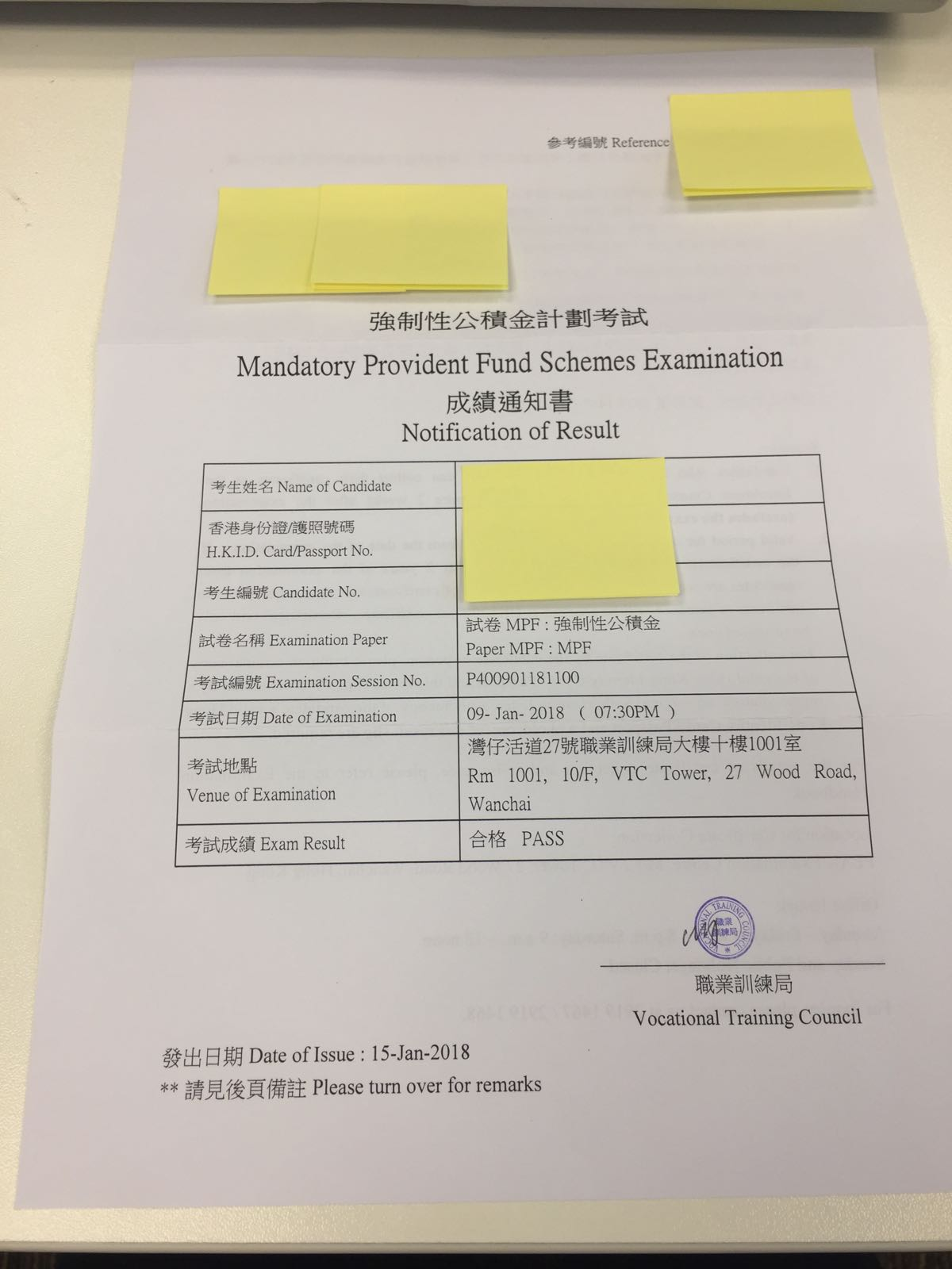 KLW 9/1/2018 MPFE 強積金中介人資格考試 Pass