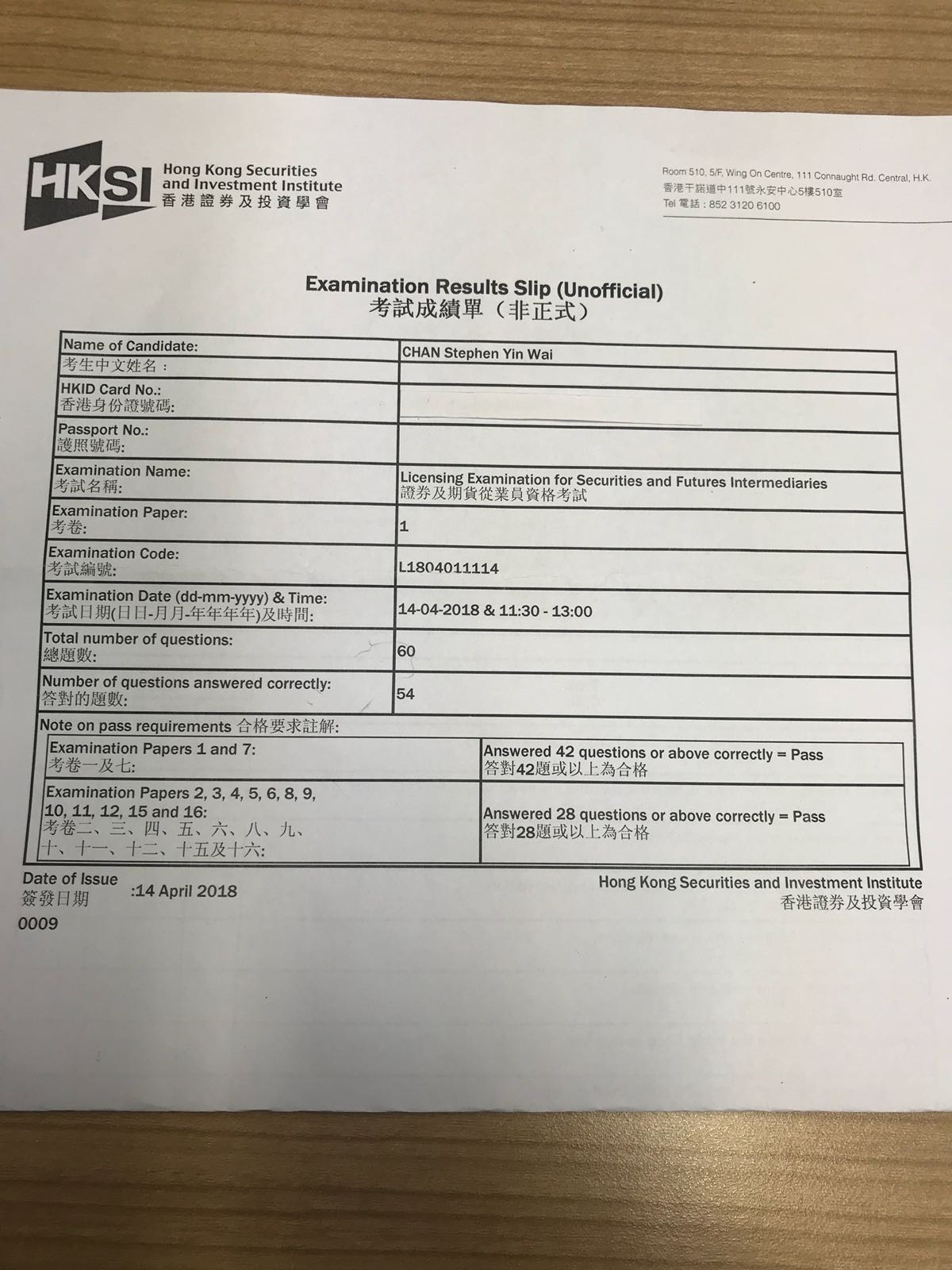 YWSC 14/4/2018 LE Paper 1 證券期貨從業員資格考試卷一 Pass