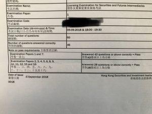 CKS 5/9/2018 LE Paper 1 證券期貨從業員資格考試卷一 Pass