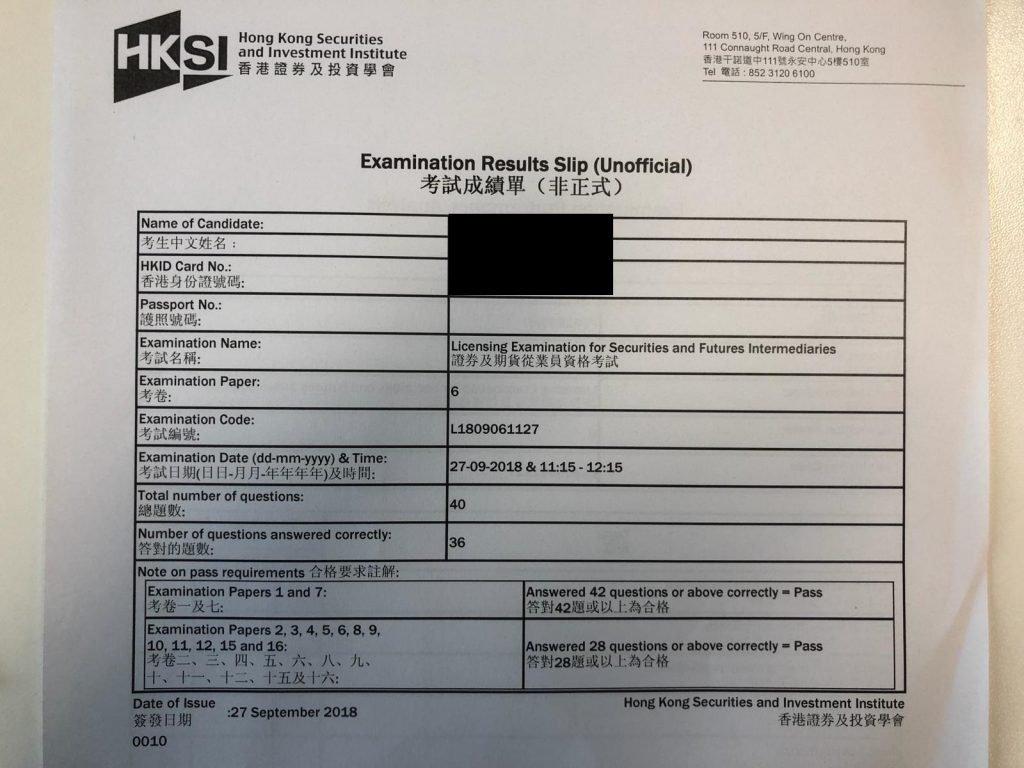 KBDQ 28/9/2018 LE Paper 6 證券期貨從業員資格考試卷六 Pass