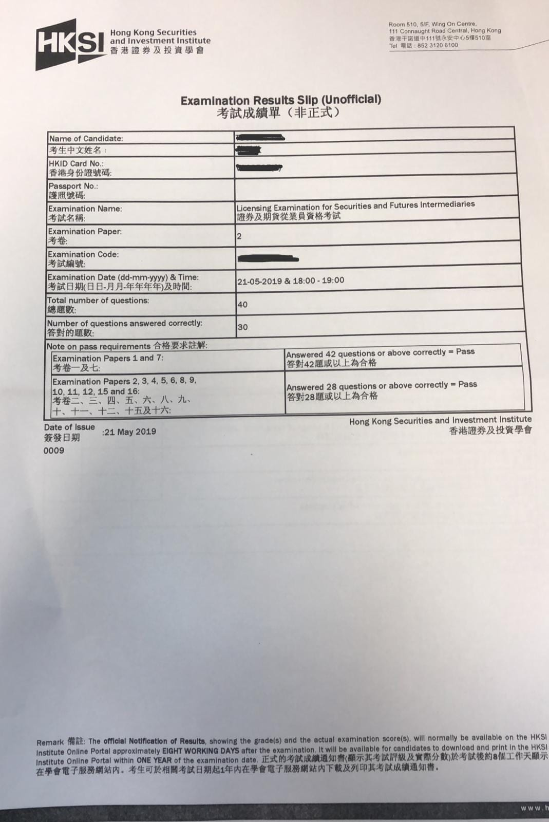 XXX 21/5/2019 LE Paper 2 證券期貨從業員資格考試卷二 Pass