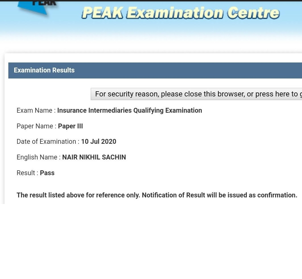 NNS 10/7/2020 IIQE Paper 3 保險中介人資格考試卷三 Pass