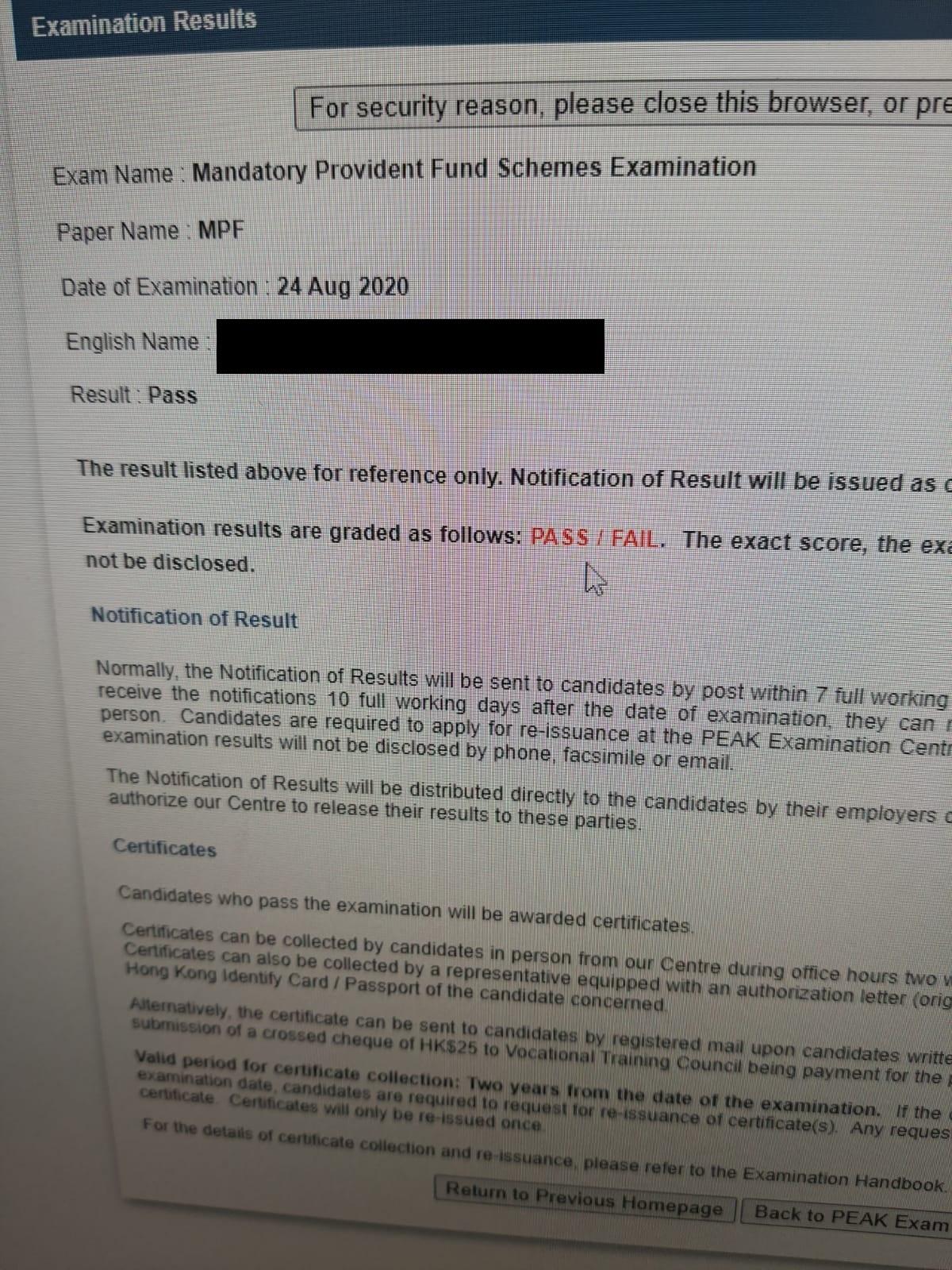 CTC 24/8/2020 MPFE 強積金中介人資格考試 Pass