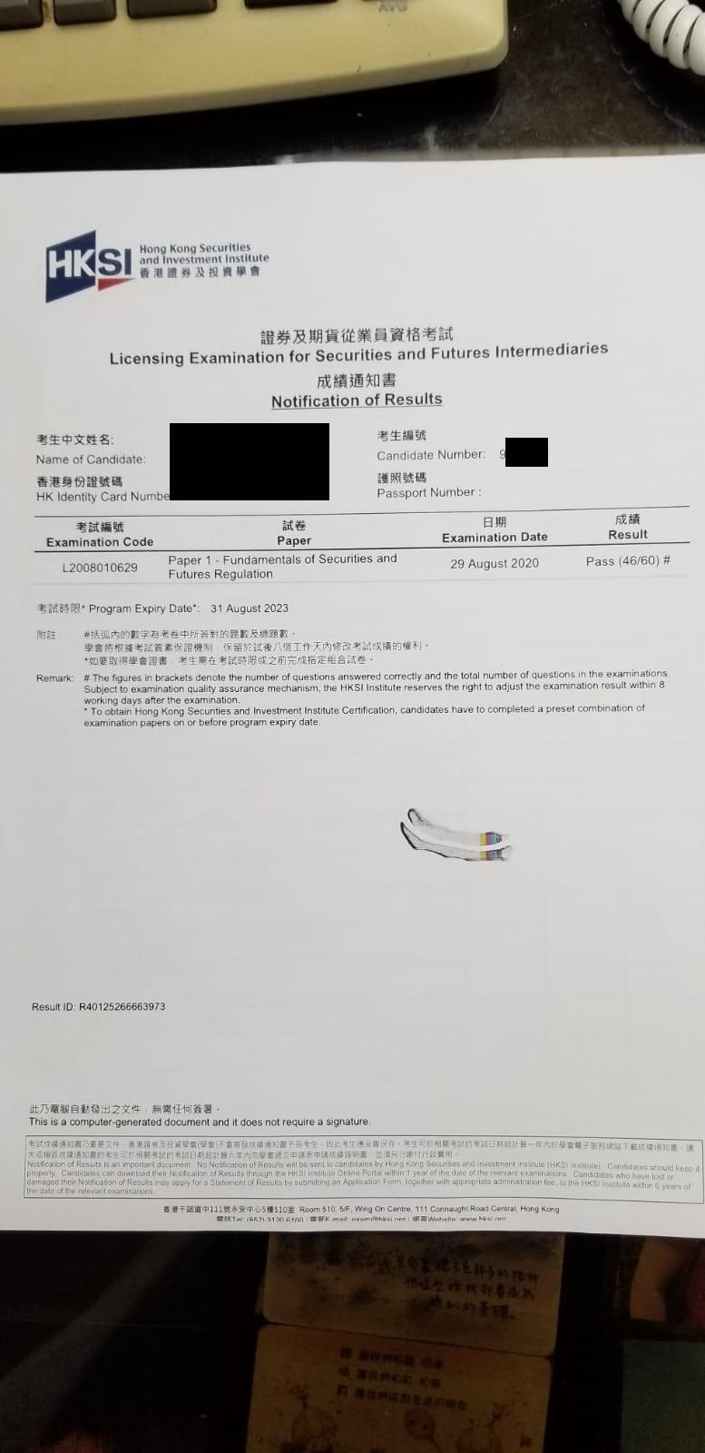 WFK 29/08/2020 LE Paper 1 證券期貨從業員資格考試卷一 Pass